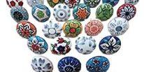 Comprar online Pomos de ceramica con diseño de colores y flores